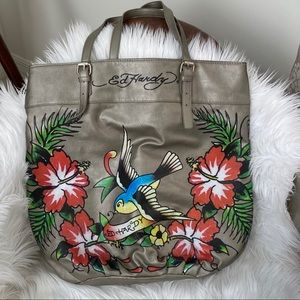 NWOT Ed Hardy faux leather silver print large tote